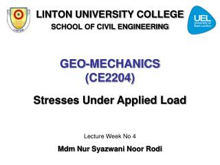 GEO-MECHANICS (CE2204)