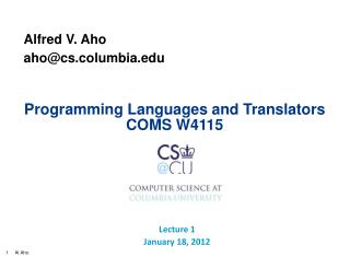 Programming Languages and Translators COMS W4115