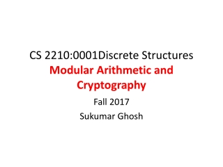 CS 2210:0001Discrete Structures Modular Arithmetic and Cryptography