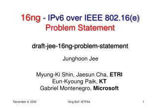 16ng  - IPv6 over IEEE 802.16(e)  Problem Statement draft-jee-16ng-problem-statement