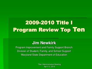2009-2010 Title I  Program Review Top  Ten