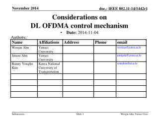 Considerations  on  DL  OFDMA control mechanism