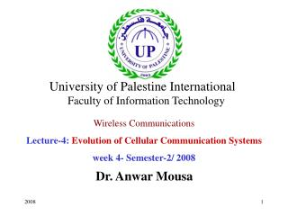 Wireless Communications Lecture-4:  Evolution of Cellular Communication Systems