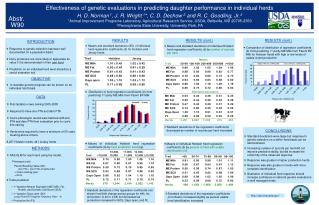 Effectiveness of genetic evaluations in predicting daughter performance in individual herds