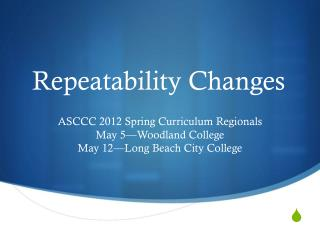 Repeatability Changes