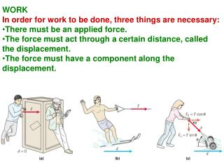 WORK In order for work to be done, three things are necessary: There must be an applied force.
