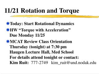 11/21 Rotation and Torque