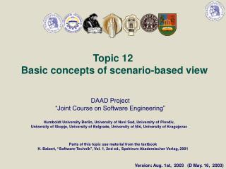 Topic  12 Basic concepts of scenario-based view