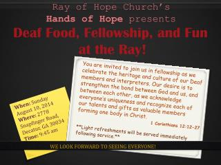Ray of Hope Church's  Hands of Hope  presents