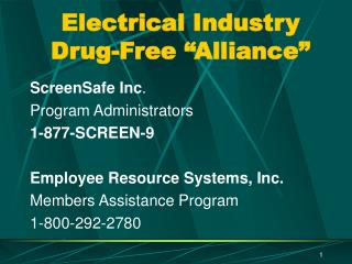 """Electrical Industry Drug-Free """"Alliance"""""""