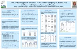 RESULTS Numbers of Holsteins bulls with 3 tailored genetic evaluations