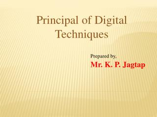 Prepared by, Mr. K. P. Jagtap