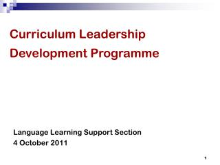 Curriculum Leadership Development Programme
