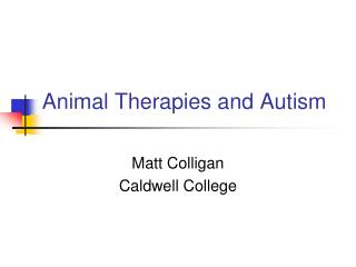 Animal Therapies and Autism