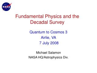 Fundamental Physics and the Decadal Survey