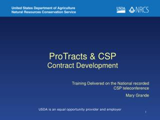 ProTracts & CSP  Contract Development