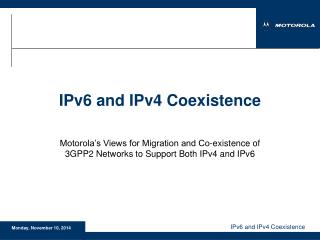 IPv6 and IPv4 Coexistence
