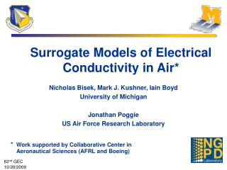 Surrogate Models of Electrical Conductivity in Air*