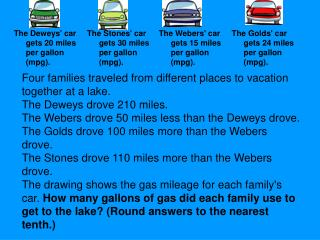 Four families traveled from different places to vacation together at a lake. The Deweys drove 210 miles.