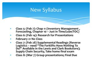 New Syllabus