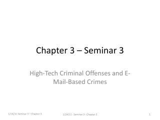 Chapter 3 – Seminar 3