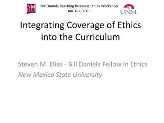 Integrating Coverage of Ethics into the Curriculum