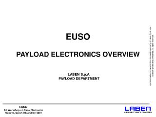 EUSO  PAYLOAD ELECTRONICS OVERVIEW