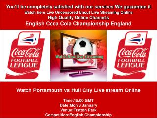 Portsmouth vs Hull City LIVE STREAM SOCCER TV