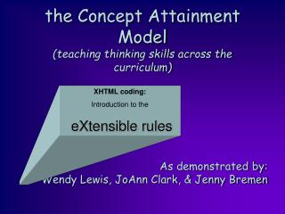 the Concept Attainment Model (teaching thinking skills across the curriculum)