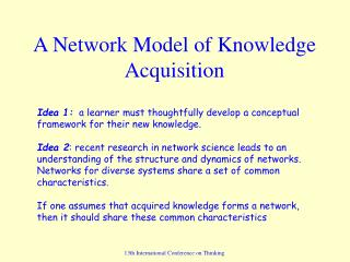 A Network Model of Knowledge Acquisition