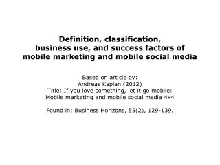 Definition of mobile marketing and mobile social media