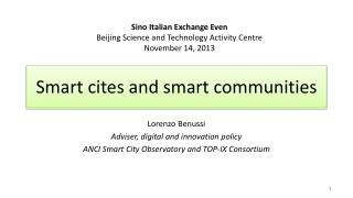 Smart cites and smart communities
