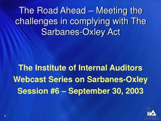 The Road Ahead – Meeting the challenges in complying with The Sarbanes-Oxley Act
