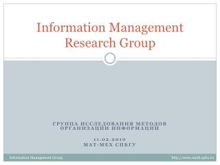 Information Management Research Group