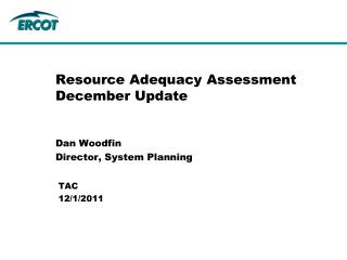 Resource Adequacy Assessment December Update