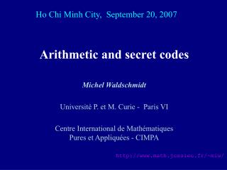 Arithmetic and secret codes