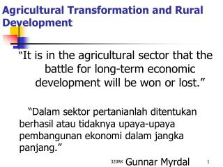 Agricultural Transformation and Rural Development