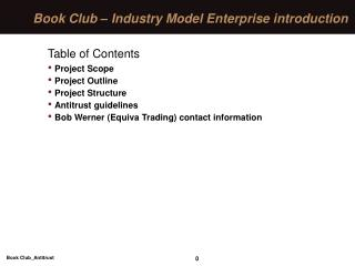 Book Club – Industry Model Enterprise introduction