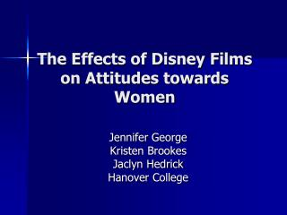 The Effects of Disney Films on Attitudes towards Women