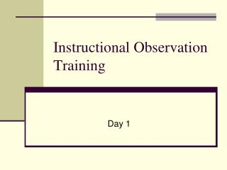 Instructional Observation Training