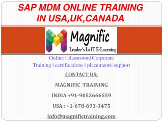 Sap Mdm Online Training in Usa,Uk,Canada