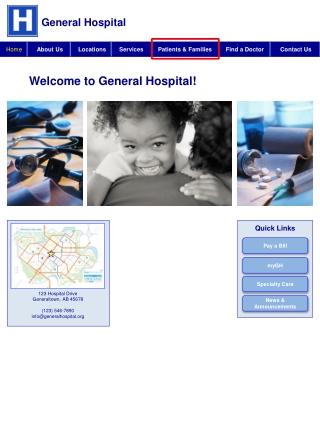 123 Hospital Drive Generaltown , AB 45678 (123) 546-7890 info@generalhospital
