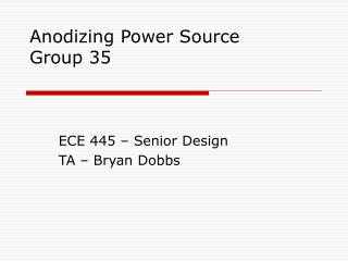 Anodizing Power Source Group 35