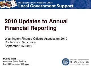 Washington Finance Officers Association 2010 Conference  Vancouver  September 16, 2010