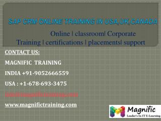 Sap Crm Online Training in Usa,Uk,Canada