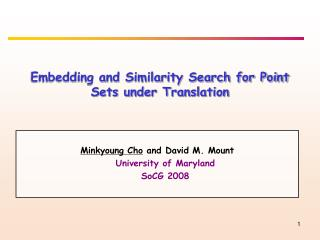 Embedding and Similarity Search for Point Sets under Translation