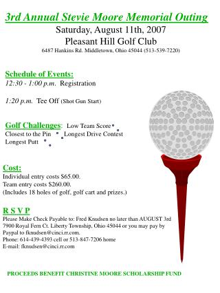 3rd Annual Stevie Moore Memorial Outing Saturday, August 11th, 2007   Pleasant Hill Golf Club