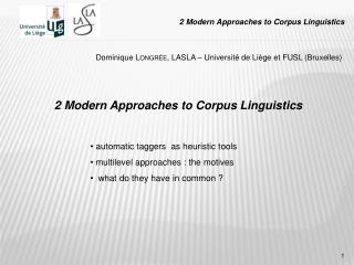 2 Modern Approaches to Corpus Linguistics