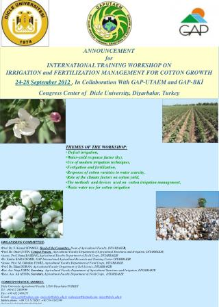 ANNOUNCEMENT  for INTERNATIONAL TRAINING WORKSHOP ON IRRIGATION and FERTILIZATION MANAGEMENT  FOR  COTTON GROWTH