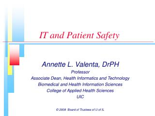 IT and Patient Safety